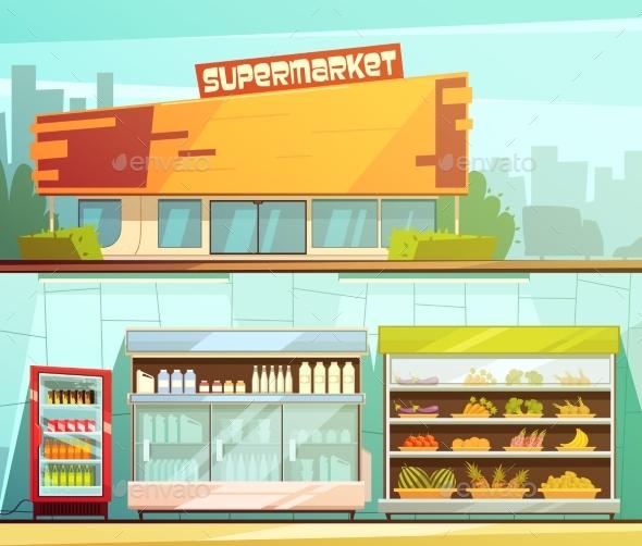 Supermarket 2 Retro Cartoon Banners Set - Commercial / Shopping Conceptual