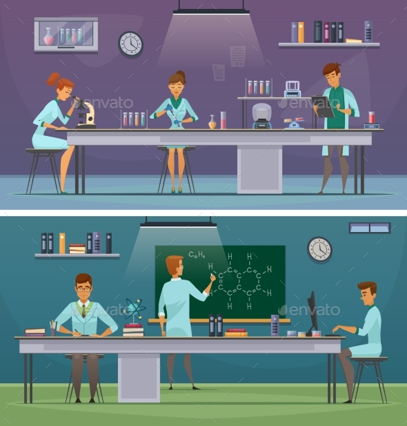 Scientists At Work Retro Cartoon Banners - Technology Conceptual