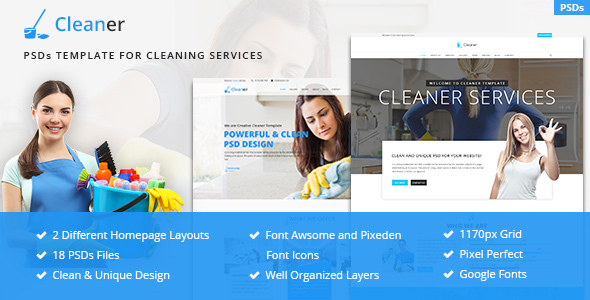 Cleaner - PSD template for Cleaning Services - Business Corporate