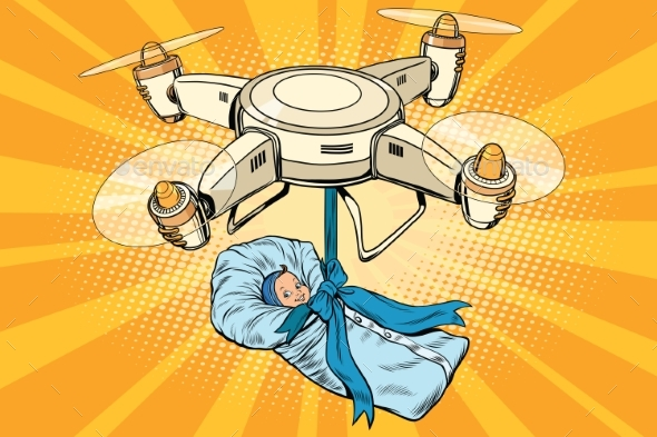Drone Quadcopter Delivery of a Newborn Baby - People Characters