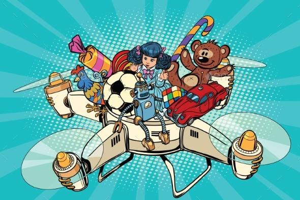 Toys Delivery Drones - Seasons/Holidays Conceptual