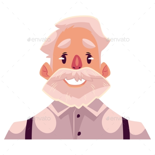 Grey Haired Old Man Face, Smiling Facial - People Characters