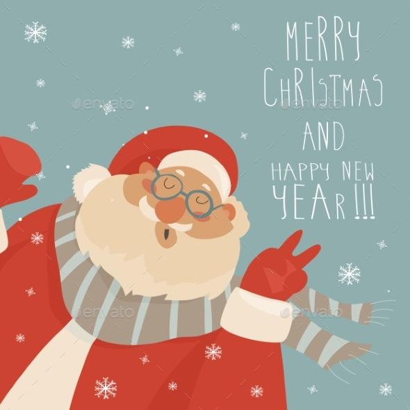 Vector Christmas Card with Santa Claus - Christmas Seasons/Holidays