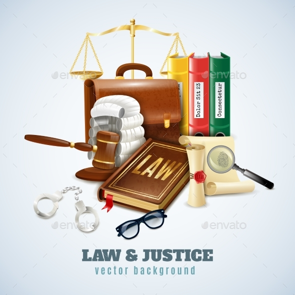 Law and Order Composition Background Poster - Concepts Business