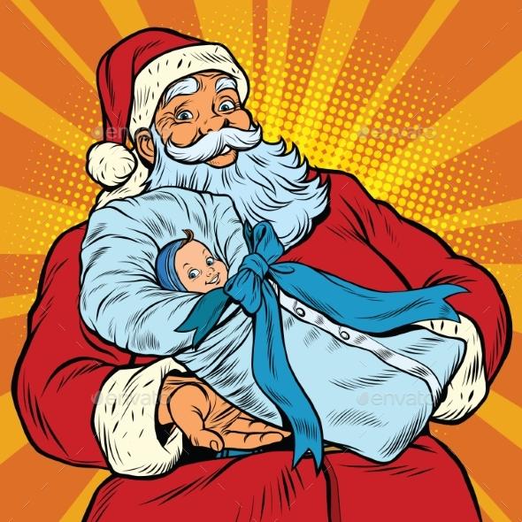 Santa Claus with a Newborn Boy - Christmas Seasons/Holidays