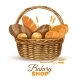 Bakery Basket with Bread Realistic Image