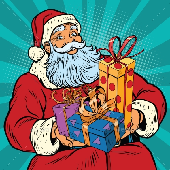 Santa Claus with Christmas Gifts - Christmas Seasons/Holidays