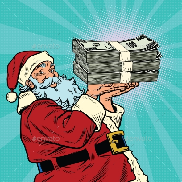 Santa Claus with a Bundle of Money Dollars - Christmas Seasons/Holidays
