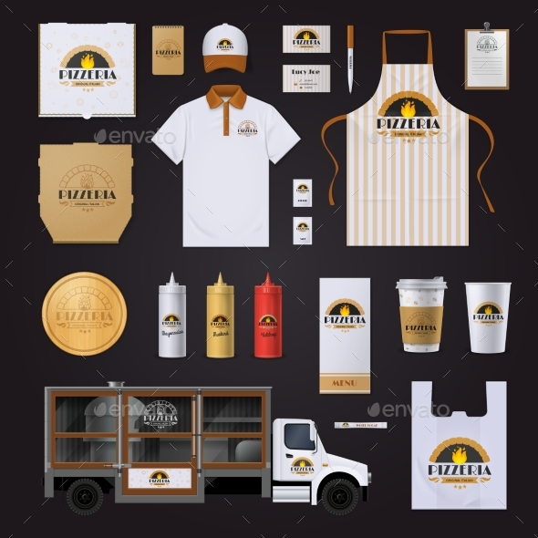 Pizza Corporate Identity Template Design Set - Concepts Business