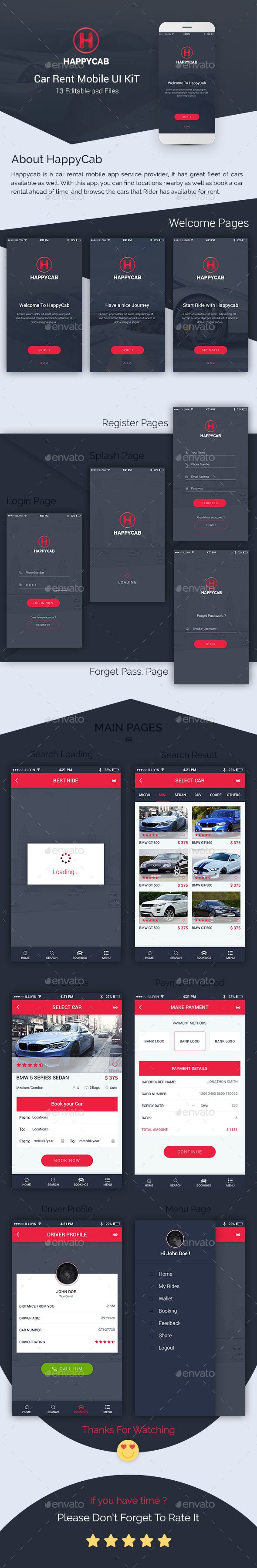 Happycab - Car Rent Mobile UI Kit - User Interfaces Web Elements