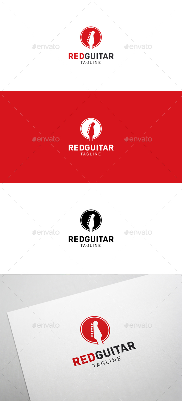 Red Guitar Logo - Objects Logo Templates