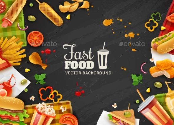 Fast Food Black Background Poster - Backgrounds Decorative