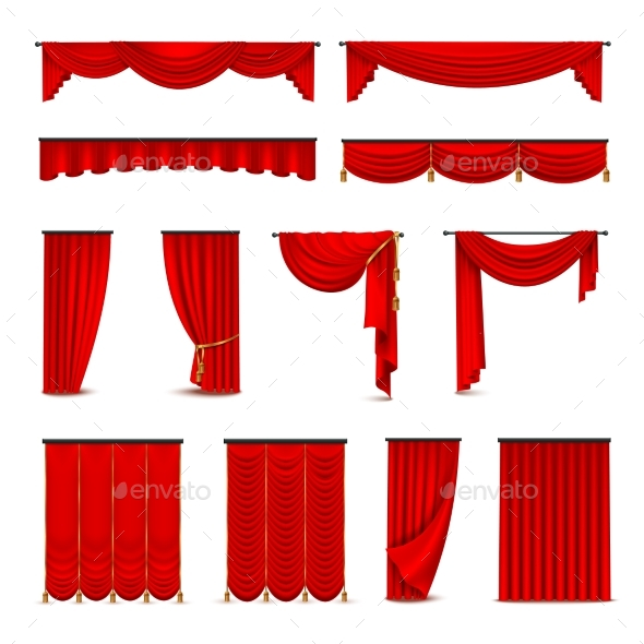 Luxury Red Curtains Draperies Realistic Set - Man-made Objects Objects