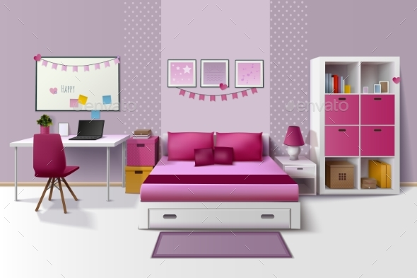 Teen Girl Room Interior Realistic Image - Man-made Objects Objects