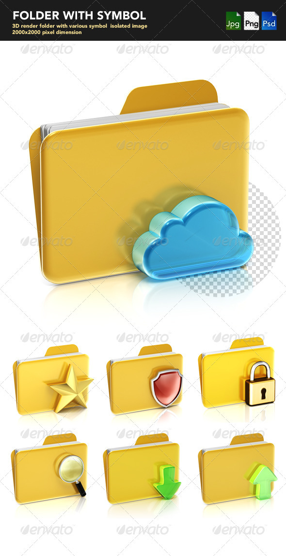 FOLDER WITH SYMBOL - Objects 3D Renders
