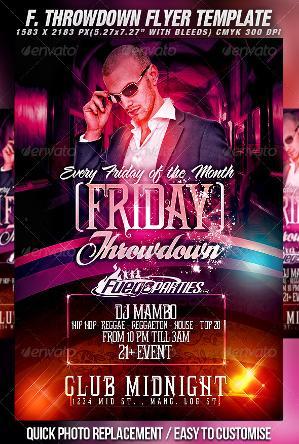 Friday Throwdown Flyer Template - Clubs & Parties Events