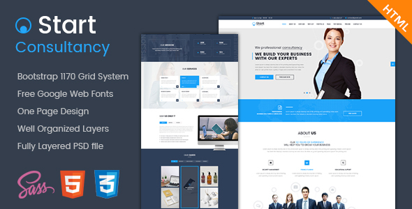 Start - Onepage Consultancy HTML Template - Corporate Site Templates