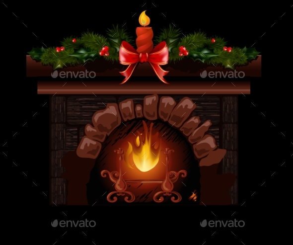 Christmas Fireplace - Christmas Seasons/Holidays
