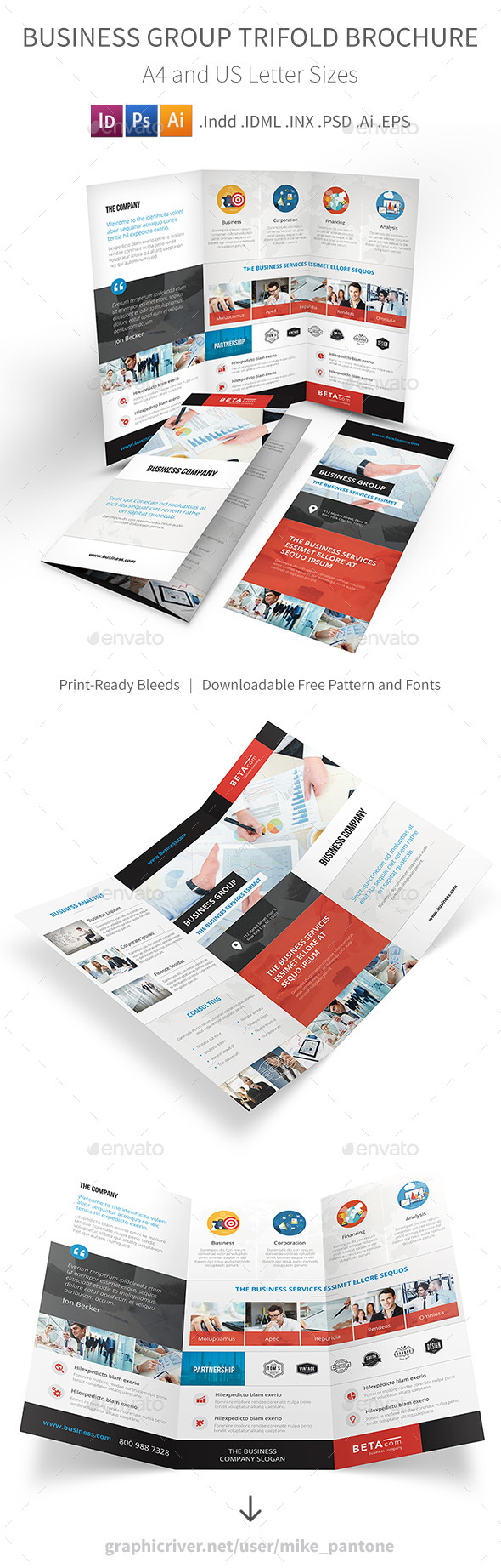 Business Group Trifold Brochure - Corporate Brochures