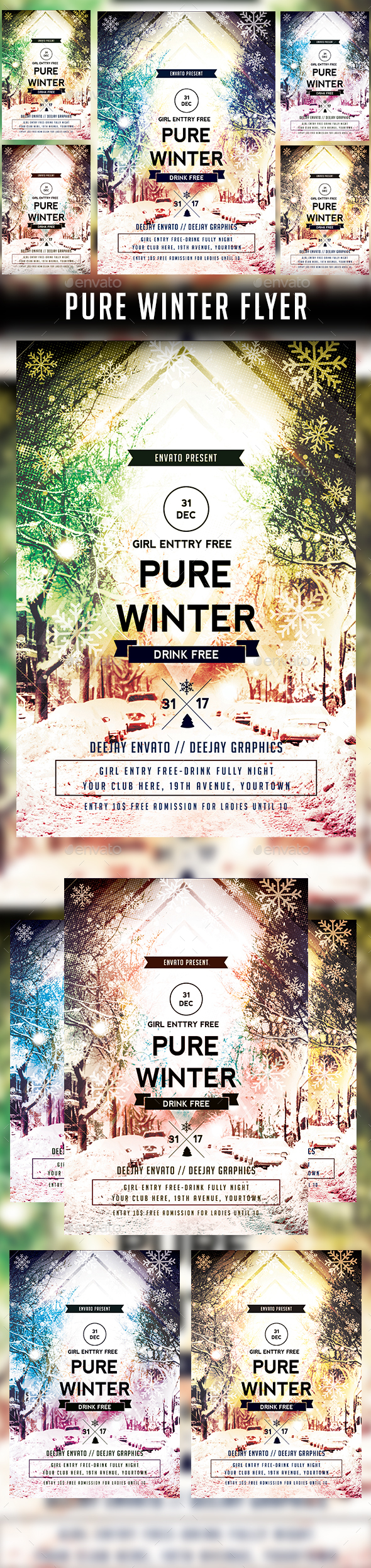 Pure Winter Flyer Template - Clubs & Parties Events