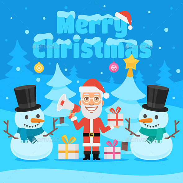 Illustration Santa Claus and Snowman in Forest - Christmas Seasons/Holidays