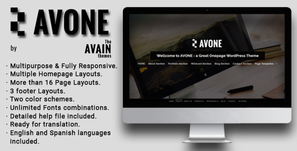 AVONE – One Page WordPress Theme with Inner Pages