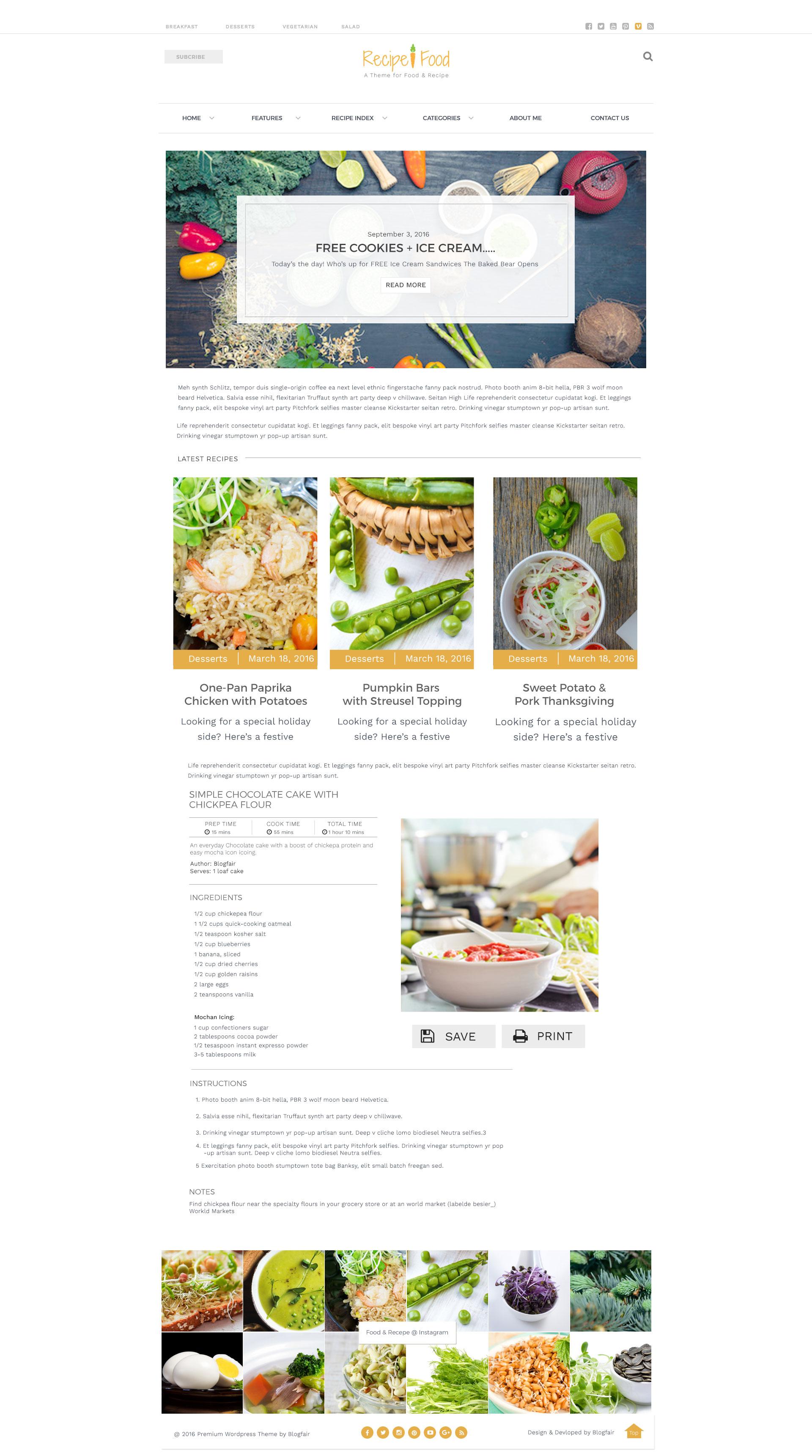 Recipe Food Psd Template By Blogfair Themeforest