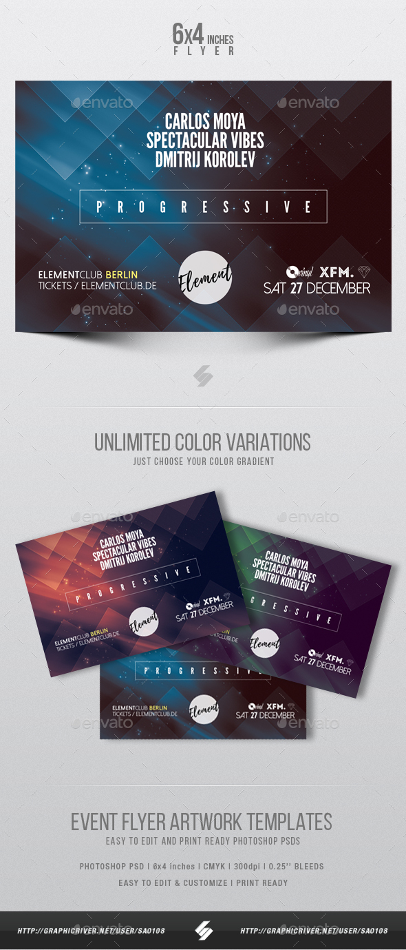 Progressive Sound Party Flyer Template - Clubs & Parties Events