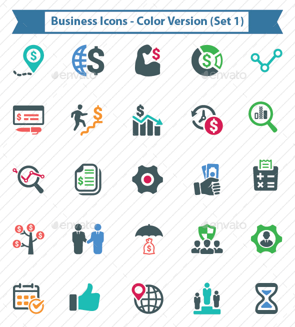 Business Icons - Color Version (Set 1) - Business Icons