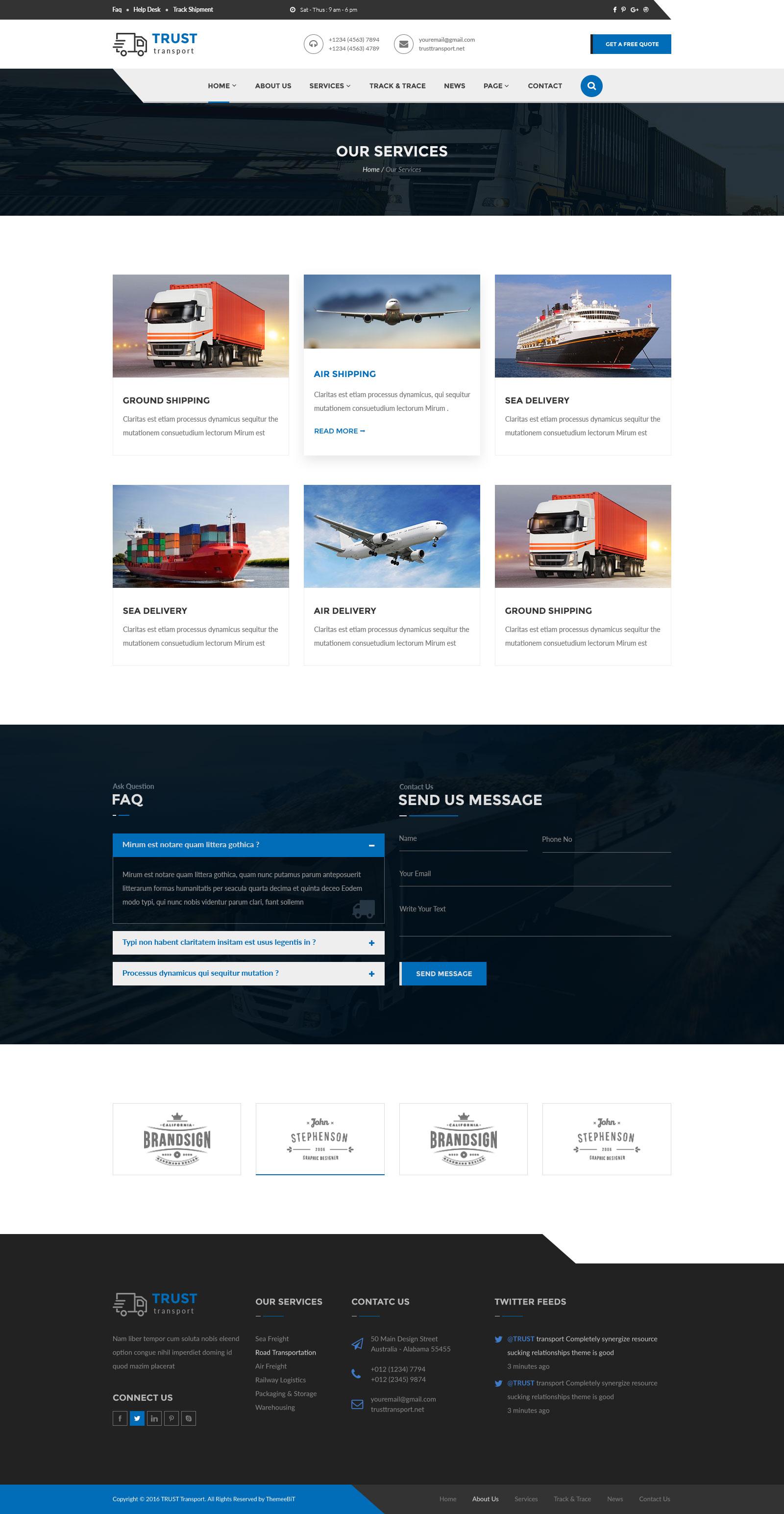 Trust Transport - Transportation and Logistics PSD Template by ThemeeBiT