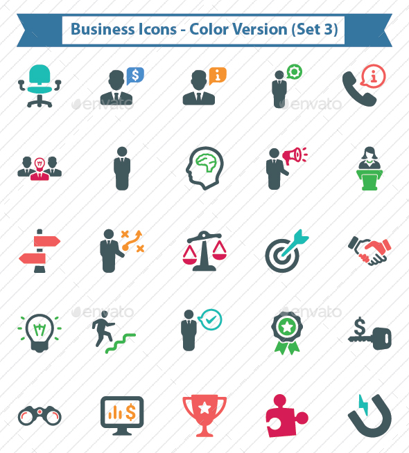 Business Icons - Color Version (Set 3) - Business Icons