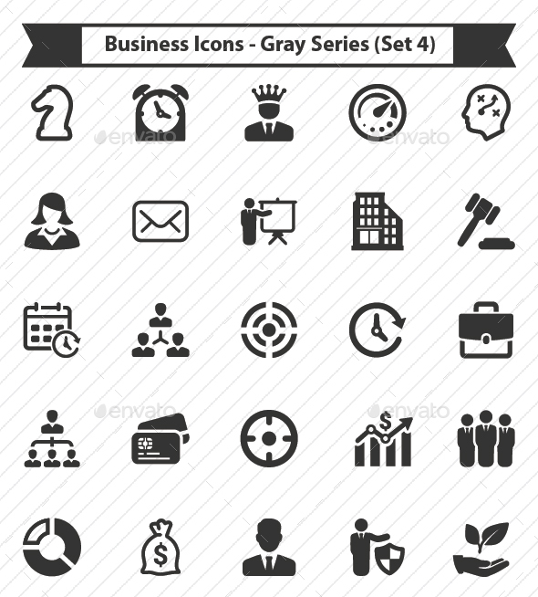 Business Icons - Gray Series (Set 4) - Business Icons