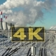 Industrial City Landscape. Smoke in Winter From Pipes Near Railroad. - VideoHive Item for Sale