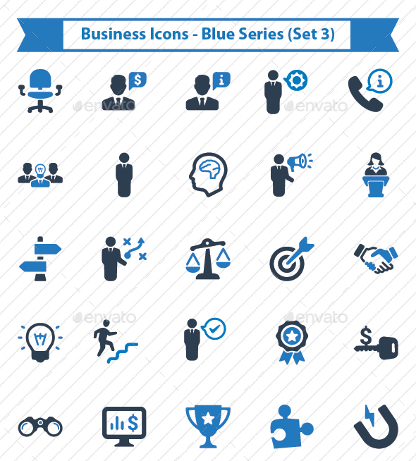 Business Icons - Blue Series (Set 3) - Business Icons