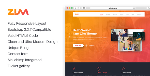 Zim – One Page Responsive HTML Template