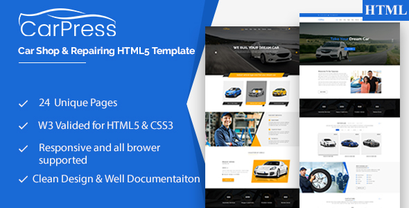 CarPress || For Car Shop and Car Repiar HTML5 Template - Retail Site Templates