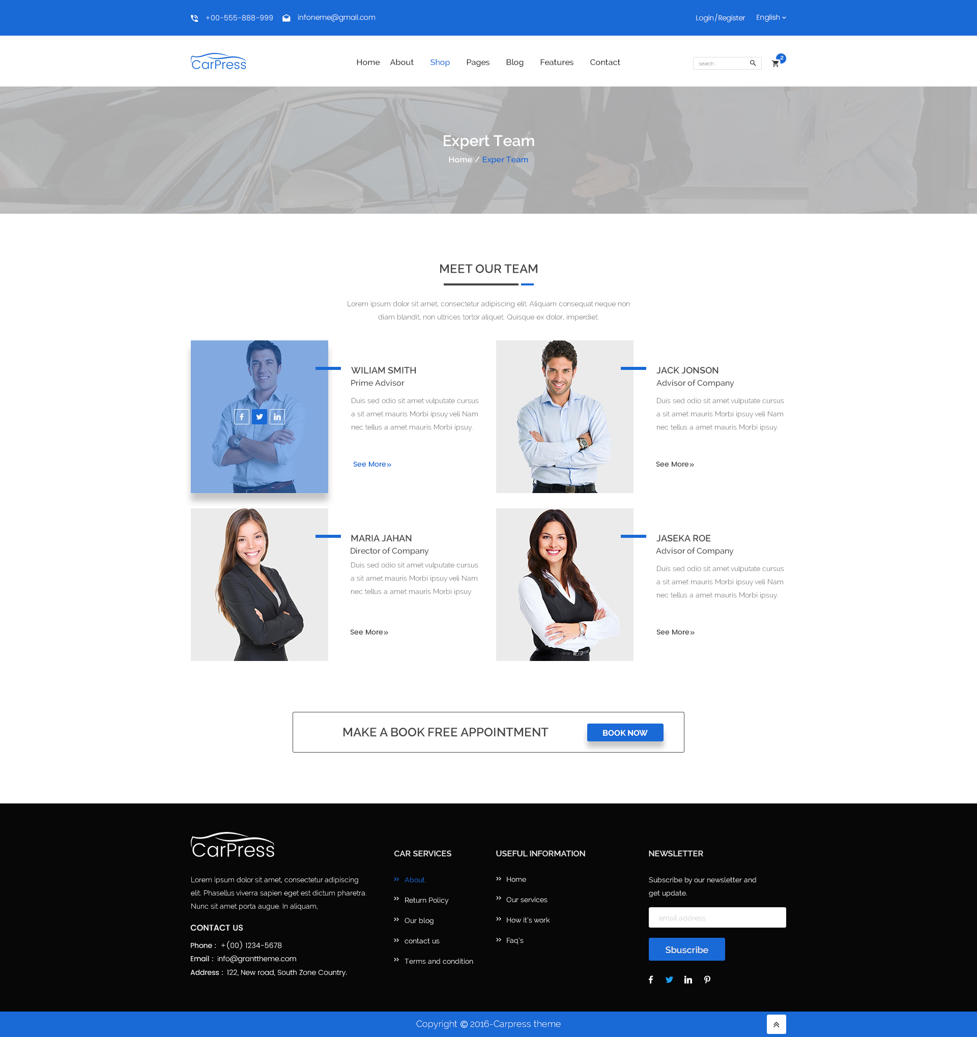 Carpress for car shop and car repiar html5 template by radontheme carpress preview images18 team members g pronofoot35fo Images