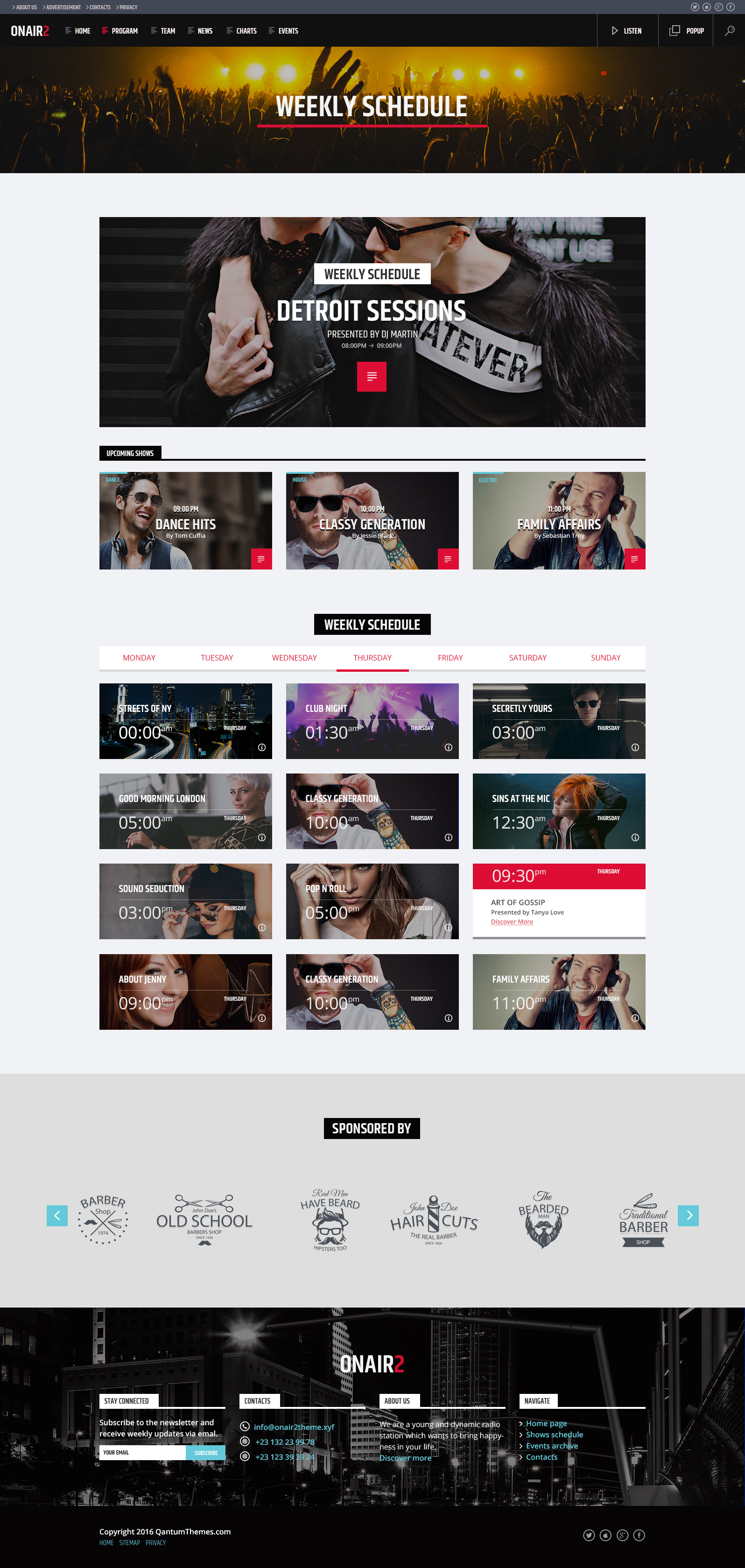 ON AIR 2: Radio Station HTML website template by QantumThemes ...