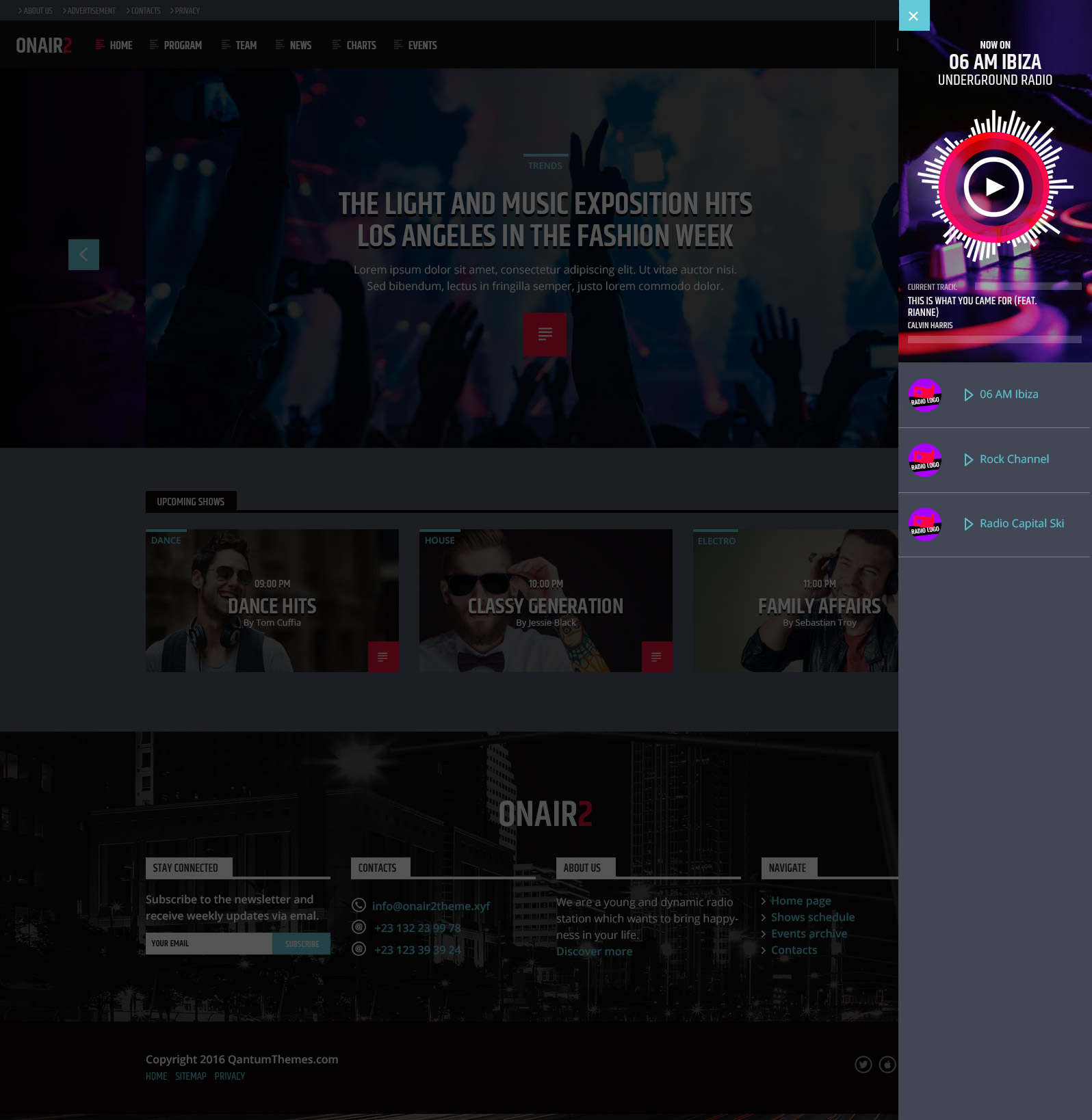 on air 2 radio station html website template by qantumthemes