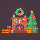 Festive Christmas Fireplace Flat Scenes - GraphicRiver Item for Sale