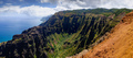 Panoramic landscape view of Na Pali coastline in dramatic style,