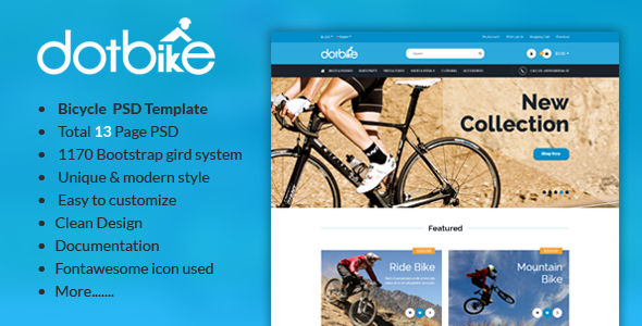 Dotbike Bicycle E Commerce Psd Template