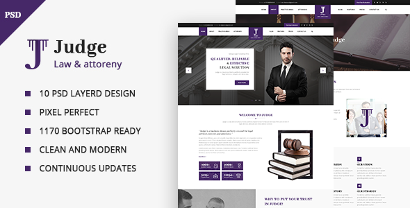 Judge – PSD Template for Law Firm and Lawyer