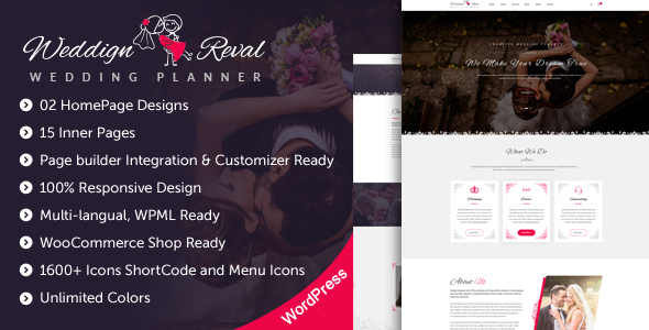 Wedding Reval - Wedding Planner & Agency WordPress Theme