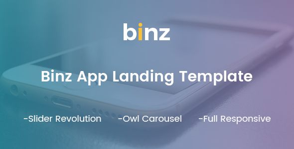 Binz App Landing Template