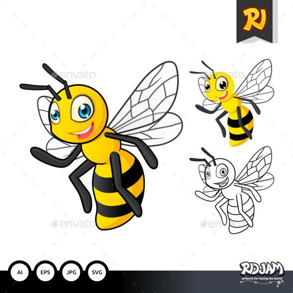 Honey Bee Cartoon Character - Animals Characters