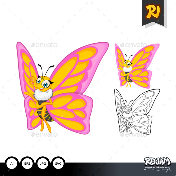 Butterfly Cartoon Character - Animals Characters