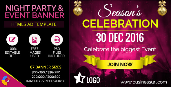 GWD | Event & Party HTML5 Banners - 07 Sizes by themesloud ...