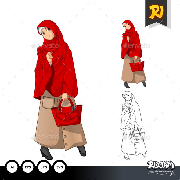 Muslim Woman Fashion Cartoon Character 1 - People Characters