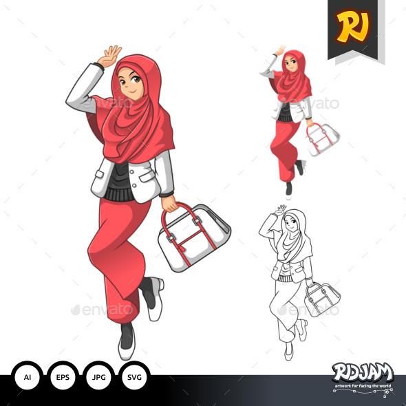 Muslim Woman Fashion Cartoon Character 3 - People Characters